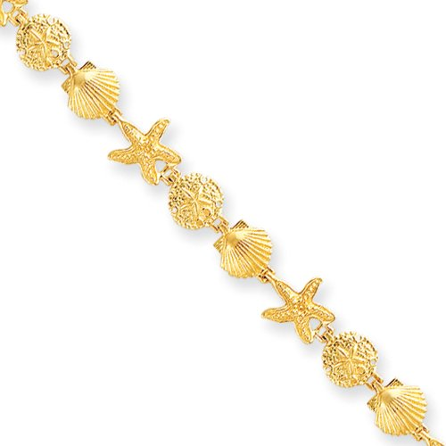 14k Yellow Gold Seashell Theme Bracelet - 7.25 Inch