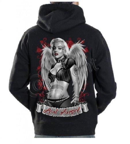 Marilyn Monroe guns gangster tattoo Lost marylin hoodie sweatshirt cali diamond, Black, X-Large