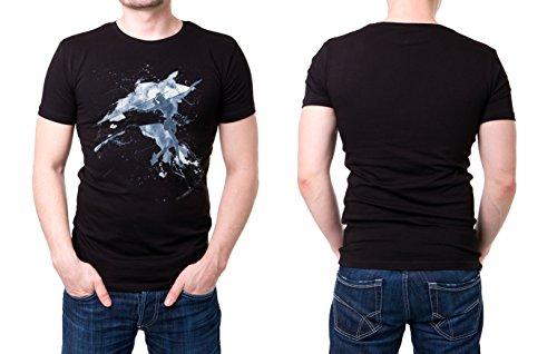 Speerweitwurf schwarzes modernes Herren T-Shirt mit stylischen Aufdruck