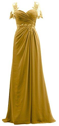 Dentelle Mère En Mousseline De Soie De L'or Robe De Mariée Femmes Macloth Manches Courtes Robe De Soirée