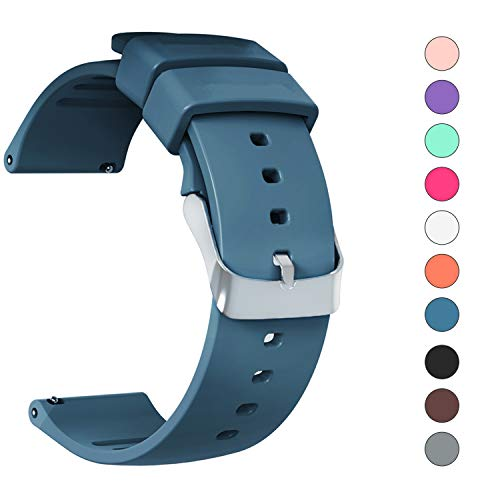 - JIELIELE Compatible 22mm Wristbands, Silicone Watch Band Straps Accessory for Samsung Gear S3 Frontier/Classic/Gear 2 / Galaxy Watch 46mm / Fossil Q Wander/Huawei Watch GT (Navy Blue, 22mm)