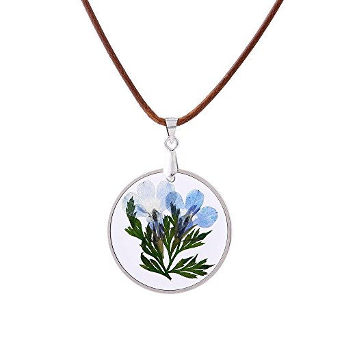 FM FM42 Pressed Blue Dried Flowers & Green Leaves Round Shape Pendant Necklace FN4004