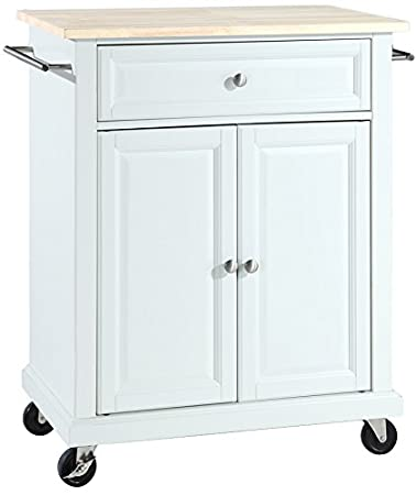 Amazoncom Crosley Furniture Cuisine Kitchen Island With Natural - Crosley kitchen island cart natural wood top