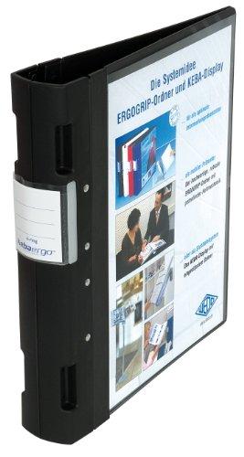 Ordner Ergogrip Präsentationsordner A4, 4-Ringmechanik, Kunststoff, 31,3 x 5,6 x 28,0 cm, schwarz