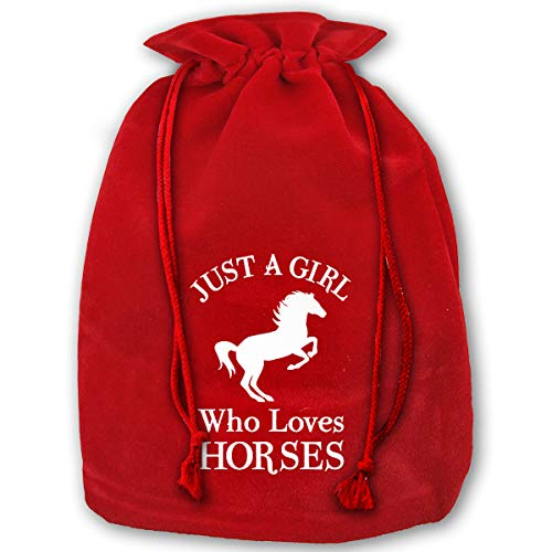 (GUFEIFEIN Just A Girl Who Loves Horses Reusable Xmas Christmas Drawstring Organza Gift Bags Red)