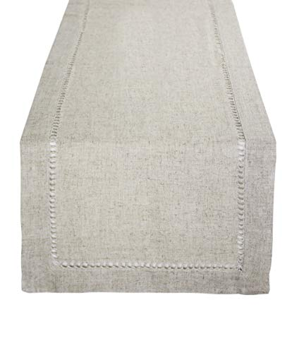 Fennco Styles Handmade Classic Hemstitch Natural Table for sale  Delivered anywhere in USA