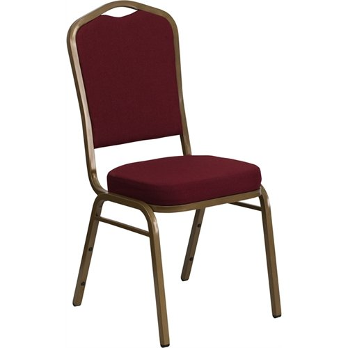 Flash Furniture HERCULES Series Crown Back Stacking Banquet Chair in Burgundy Fabric - Gold Frame