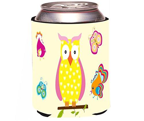 "Rikki Knight ""Yellow Owl Hearts on Deco Design"" Beer Can Soda Drinks Cooler Koozie"