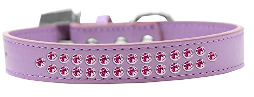 Mirage Pet Products Two Row Bright Pink Crystal Lavender Dog Collar, Size 20 by Mirage Pet Products