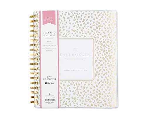"Day Designer for Blue Sky 2018 Daily & Monthly Planner, Twin-Wire Binding, 8"" x 10"", Gold Spotty"