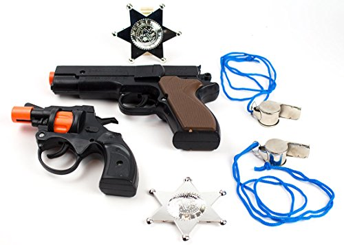 6-Piece Toy Pistol Bundle Includes 2 different Styles of Police Revolver Cap Guns with 2 Whistles and 2 Deputy Sheriffs Badges for Dress-Up and Costume Accessories by Imprints Plus (G4)
