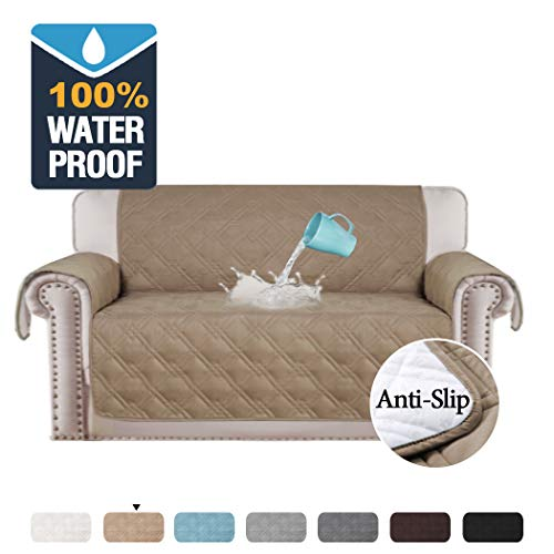 """100% Waterproof Furniture Covers for Sofa and Loveseat Slip Resistant Loveseat Slipcover Protector Non-slip Furniture Protector Water-Repellent Soft Protector/Slipcovers (Loveseat 54"""", Taupe)"""