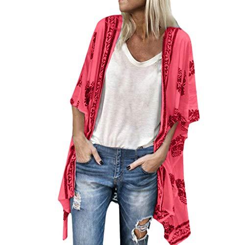2019 Summer Deals ! Women Fashion Boho Printed Sunscreen Half Sleeve Loose Sheer Chiffon Cardigan Red