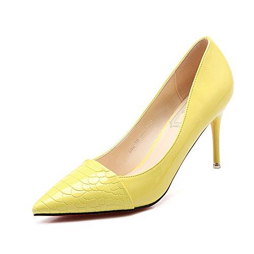 Xue Qiqi high-heel Schuhe fein mit Spitze und vielseitige Arbeit mode Damenschuhe elegante Bare-metal-Farbe light-Schuh 36 gelb 7 cm