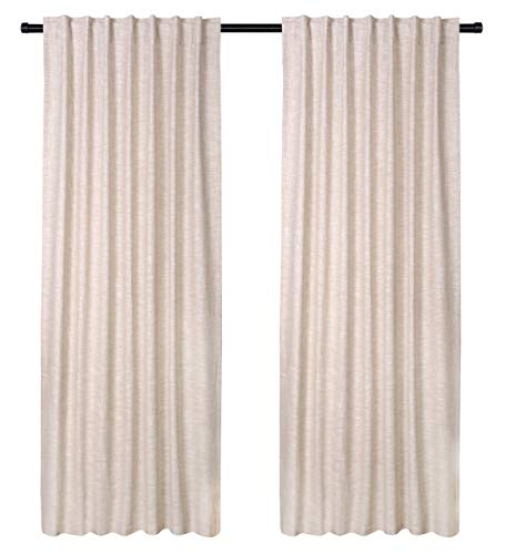 Cotton Clinic Farmhouse Style Window Curtains 2 Panels 50x84, Curtains for Living Room, Curtains for Bedroom, Curtains 84 Inch Length - 2 Piece Set 100% Pure Cotton Tab Top Curtains Beige