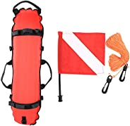 Diving Ball, Scuba Diving Inflatable Torpedo Buoy Signal Float and Flag, Inflatable Size: About 33.5 x 7.9 inc