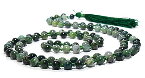 Moss String Agate Bead - Pyramid Tatva Mala Knotted - Moss Agate String 108 Beads Size - 8 mm Natural Crystal Healing & Harmony