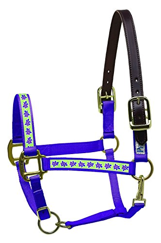 Ribbon Safety Halter Horse (Perri's Leather Horse Nylon Ribbon Safety Halter, Purple with Turtles)