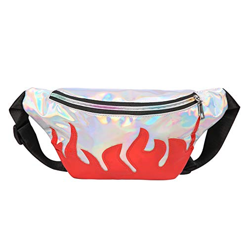 HDE Fanny Packs for Women Plus Size Fanny Pack Waist Bum Bag for Rave Fire -