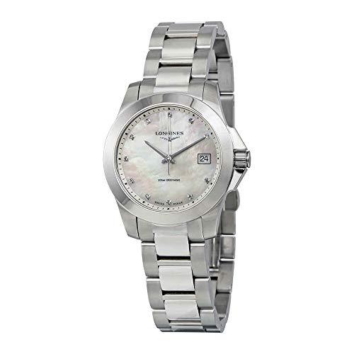 Longines Women's Swiss Conquest Diamond Accent Stainless Steel Bracelet Watch 34mm L33774876 - Longines Stainless Steel Wrist Watch