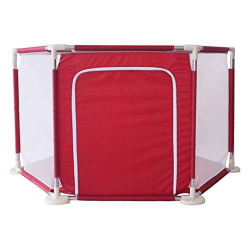 Price comparison product image Playground Baby Playpen Fence Kids Crawling Activity Center Room Safety Nursery Play Yard Area Gate Stable Breathable Mesh, 142x73cm (Red)
