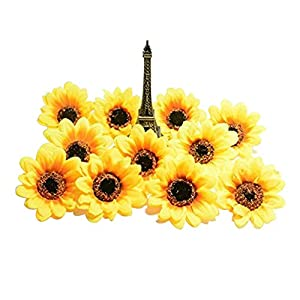 "Artificial Flowers Heads/Gerbera Daisy Flowers Heads/Silk Sunflowers sun Flower Heads for DIY Wedding Party (2.8"",25, Yellow) 8"