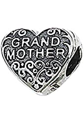 """Genuine Zable (TM) Product. 925 Sterling Silver """"Grandmother"""" Heart Bead Charm. 100% Satisfaction Guaranteed."""