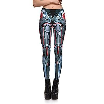 Lesubuy Mid-Waist Robot Leg Bones Print Women Sport Ankle-Length Leggings