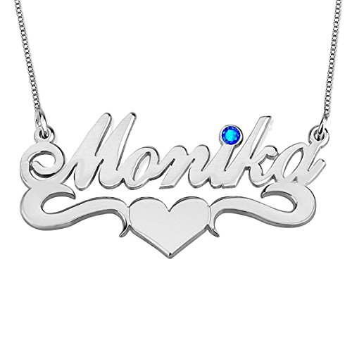 Ouslier 925 Sterling Silver Personalized Birthstone Name Necklace with Heart Custom Made with Any Name (Silver)