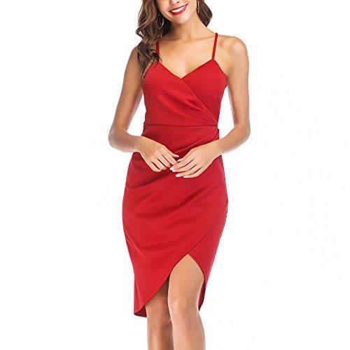 MissyLife Women's Elegant Spaghetti Strap V Neck Sexy Sleeveless Bodycon Cocktail Party Dress(Red,L) ()