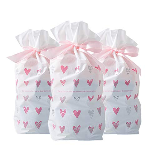 50 Pcs Candy Bags Wedding Pink Heart Cookie Plastic Bags-Snacks,Christmas,Party,Birthday, Favor,Gift Package Bag