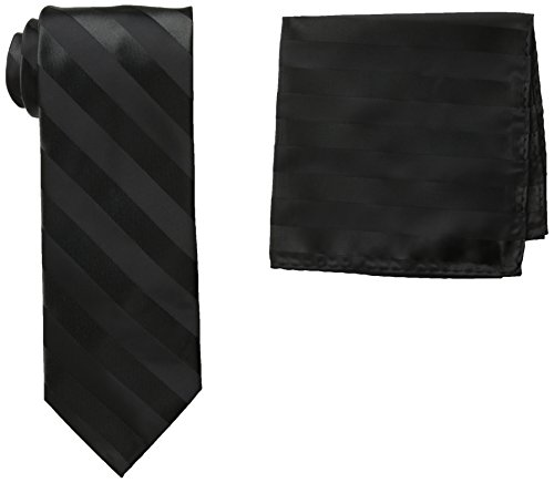 Stacy Adams Men's Tall-Plus-Size Solid Woven Formal Stripe Tie Set Extra Long, Black, One (Adams Handmade Tie)
