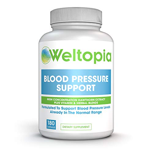 Weltopia – Advanced Blood Pressure Support – 180 Caps – High Concentration Hawthorne Extract, Plus Vitamins, Olive Leaf…