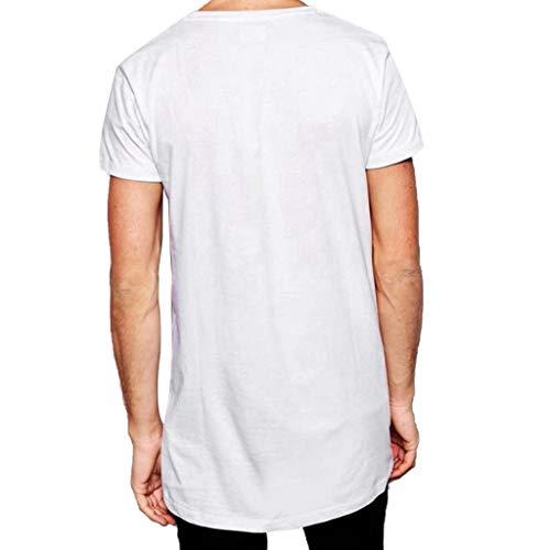 OrchidAmor 2019 Mens Euro-American Style Hem Printing Striped T-Shirt O-Collar Short Sleeve Top -