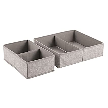 InterDesign Aldo Fabric Dresser Drawer Storage Organizer for Underwear, Socks, Bras - Set of 2, Linen 04852