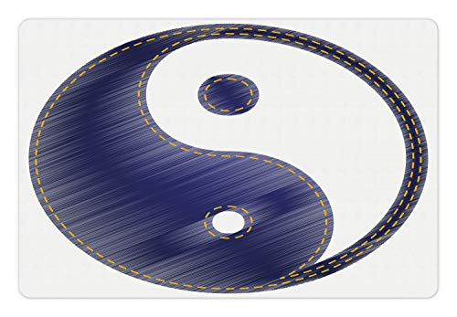 Ambesonne Ying Yang Pet Mat for Food and Water, White Background with Ying and Yang Symbol Graphic Print, Non-Slip Rubber Mat for Dogs and Cats, 18″ X 12″, White and Blue