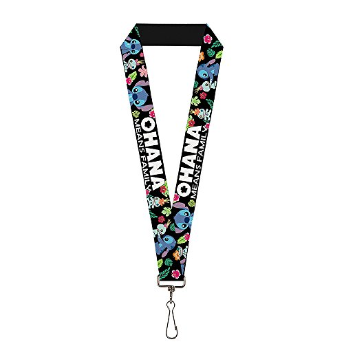 Buckle-Down Lanyard - OHANA MEANS FAMILY/Stitch & Scrump Poses/Tropical Flora Black/White/Multi Color