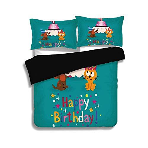 ALLMILL Black Duvet Cover Set Full Size,1st Birthday Decorat