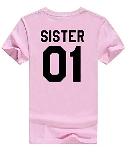 Pink Cime Magliette Minetom Tee Best Friend Donna Tops Stampa Sister Casuale Manica 01 02 T Tunica 01 Shirt Nero Estive Corta Moda OxqOfHw