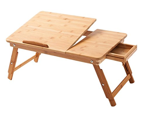 Portable Adjustable Bamboo Laptop Desk For Bed With Drawers Foldable Serving Bed Tray Icon