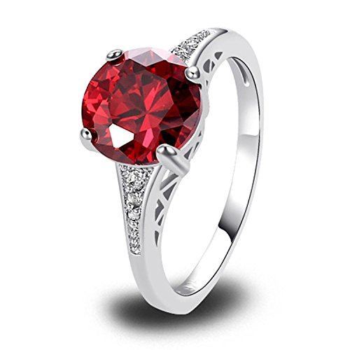 Veunora 925 Sterling Silver Created Garnet Filled Promise Engagement Ring for Women Size 8