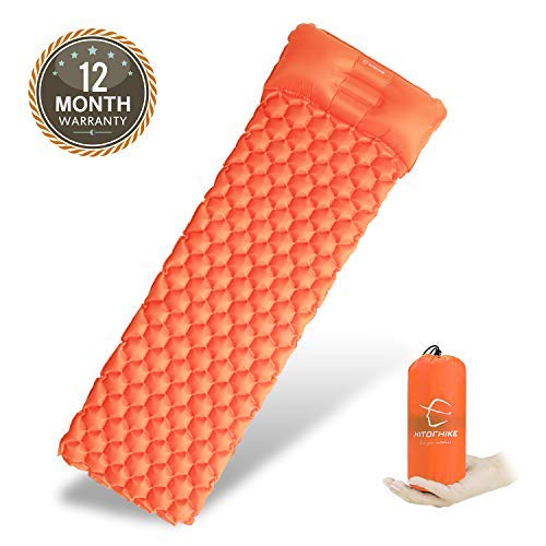 Hitorhike Backpack Sleeping Pad | Lightweight Camping Sleeping Bag Pad | Ultralight & Compact & Inflatable Air Mattress Pad-Insulated Air Mat | for Camp,Backpacking,Hiking,Scouts,Travel(Orange)
