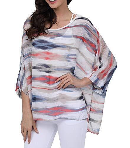 Myosotis510 Women's Chiffon Caftan Poncho Tunic Top Cover up Batwing Blouse (Z-4282)