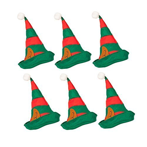 ELF HAT WITH PIXIE EARS IN RED AND GREEN FOR CHRISTMAS FANCY DRESS ADULT SIZE
