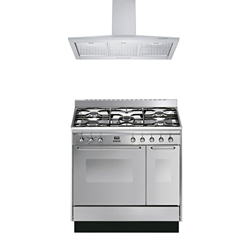 Smeg Range Cooker with Cookology Cooker Hood Pack - CC92MX9 Cucina Double Cavity...
