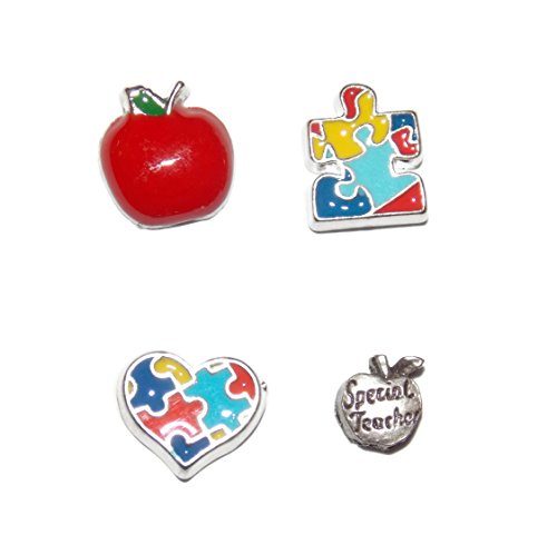 Special Teacher Apple Charm (Teacher Floating Charm Pack with 4 Teacher Themed Charms Special Teacher, Apple, Puzzle and Heart)