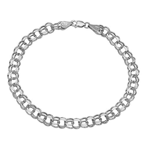 Women's 14k White Gold 5.9mm Chain Link Charm Bracelet, 7.25