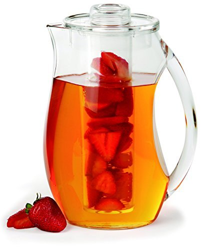 Chef's INSPIRATIONS Fruit Infusion Water Pitcher. 2.9 Quart (2.75 Liters). Best For Infused Lemon, Fruit, Herbs Or Tea Beverages. Shatterproof Acrylic. Includes Ice Core & Bonus Infuser Recipe eBook. (Acrylic Water Carafe With Lid compare prices)