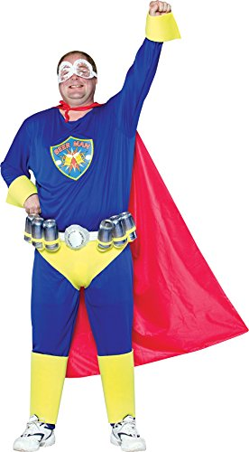 Heroes And Villains Womens Costumes (UHC Men's Beer Man Superhero Outfit Fancy Dress Halloween Plus Size Costume, Plus (Up to 52))