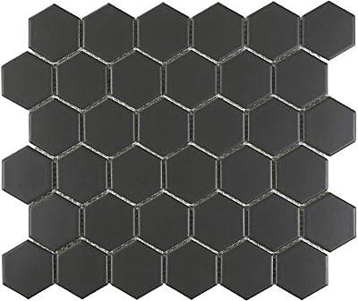 "1 Carton/20 SQFT   Black 2"" Hexagon Mosaic Tile - (Matte)"